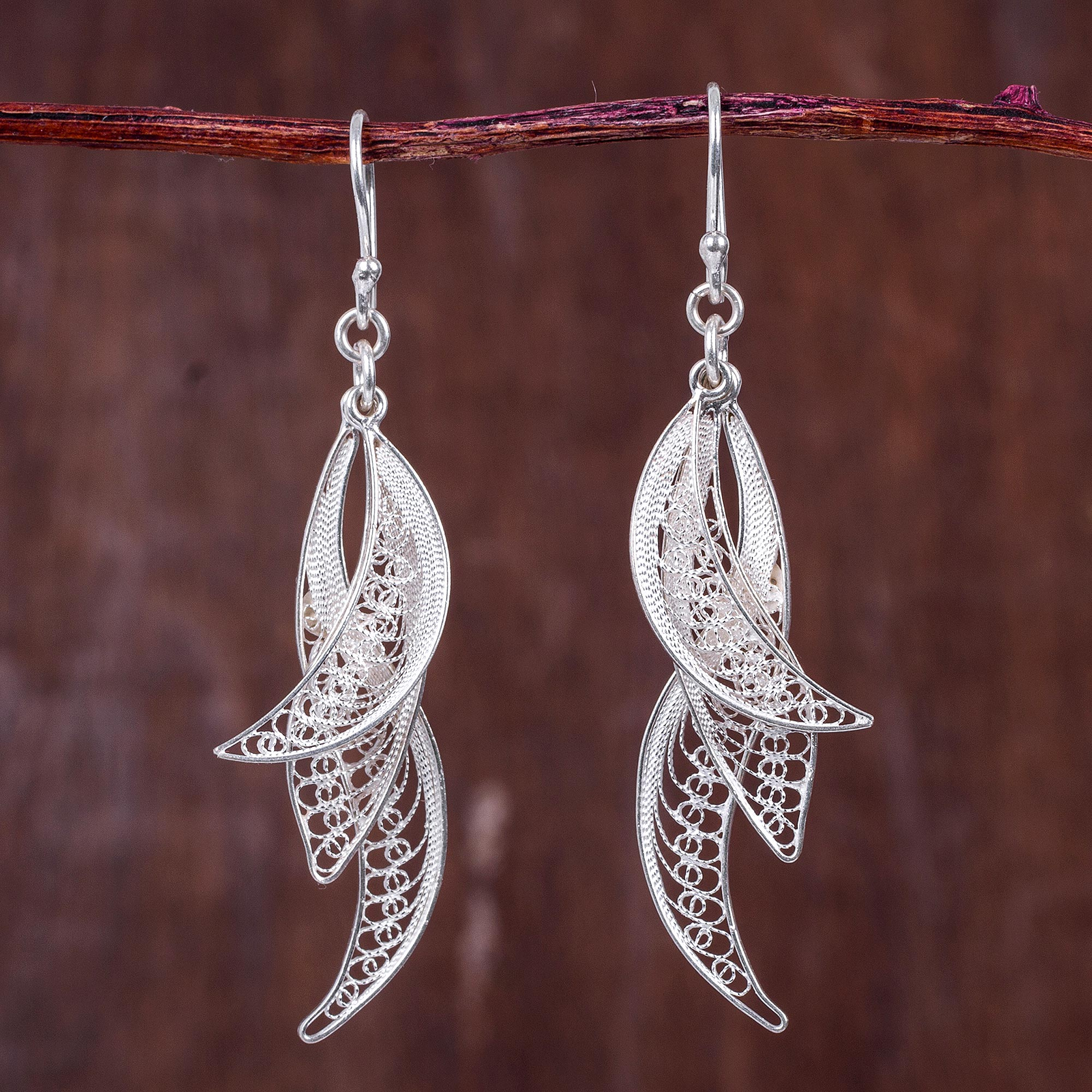 filigree earrings filigree leaves in hand crafted sterling silver earrings - windswept |  novica ckgbzph