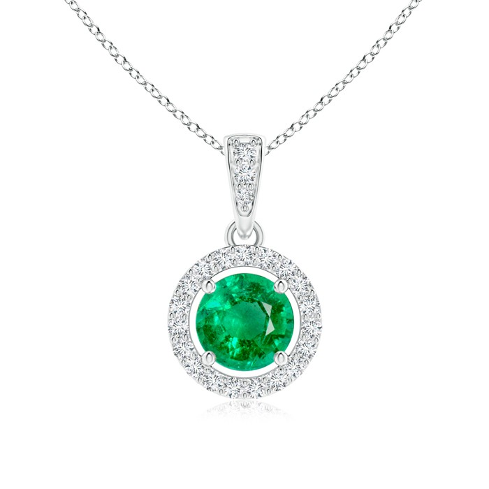 floating round emerald necklace with diamond halo yfcqvmi