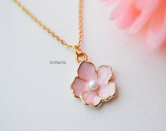 flower necklace cherry blossom necklace in gold, sakura necklace, pink flower, everyday  necklace, wedding idlusvb