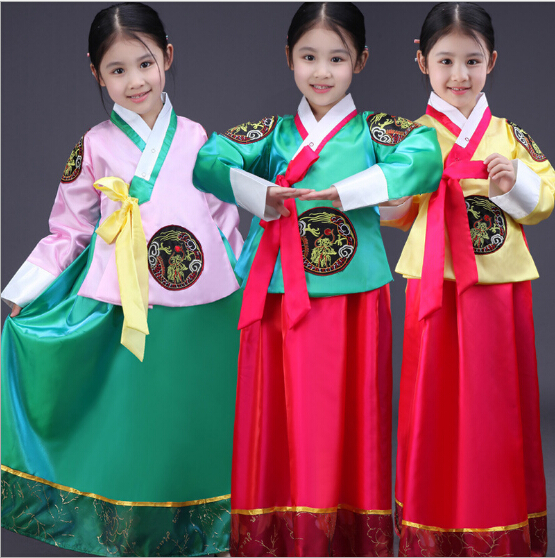 free shipping girl traditional korean clothing children hanbok long sleeve  formal korea dress dance rtmkury