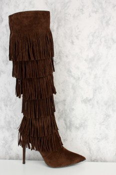 fringe boots brown fringe pointy toe knee high heel boots faux suede gomjbhs