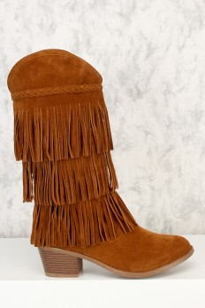 fringe boots camel braided fringe accent round toe mid calf chunky heel boots faux suede ewqaixg