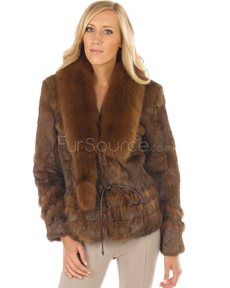 fur coats fur jacket - rabbit fur with fox fur collar - brown cznfakb