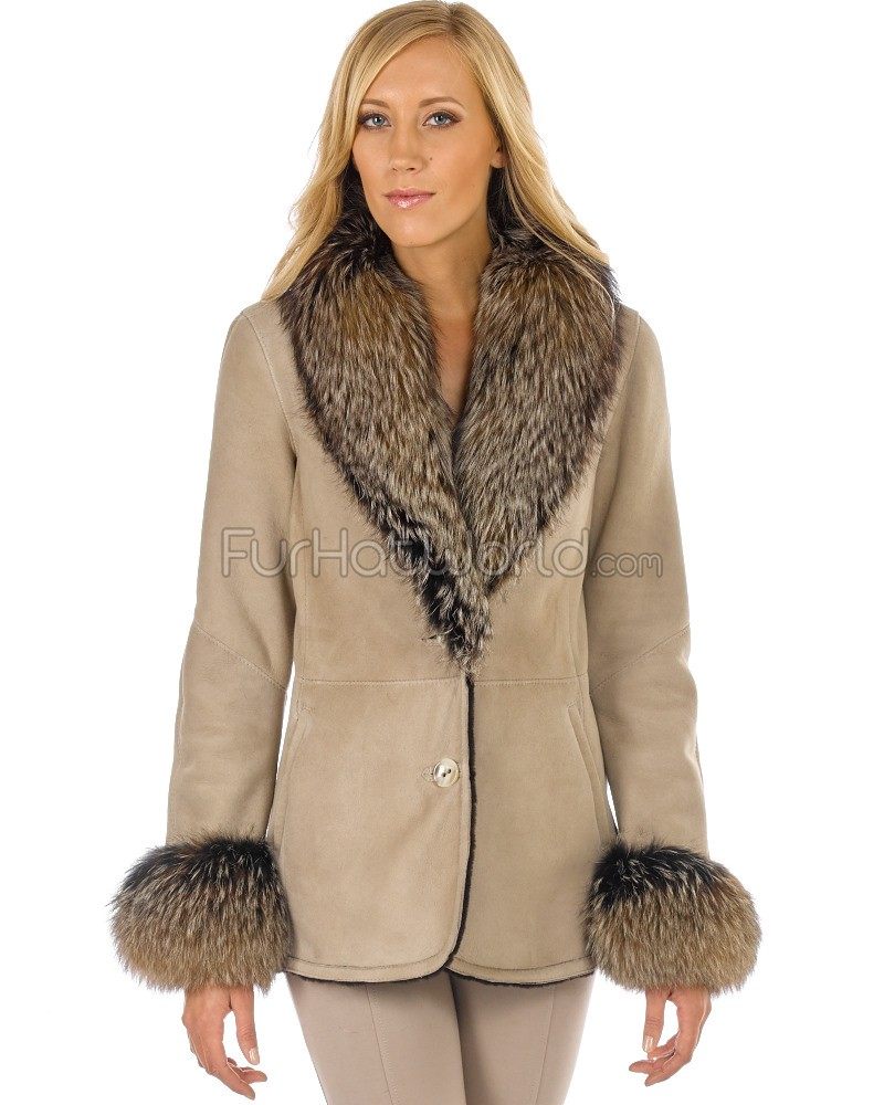 fur coats kayla toscana shearling jacket with fox fur collar in beige ... mpsbkqr