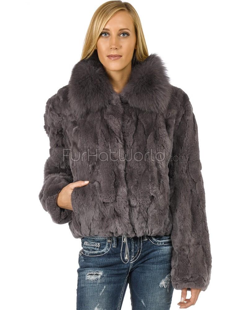 fur coats salem rex rabbit fur bomber with fox collar in grey ncexfii