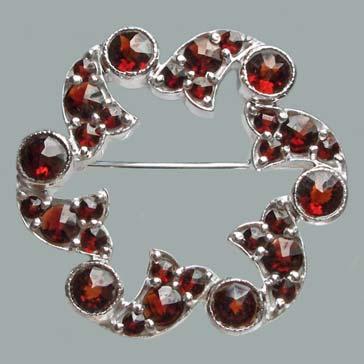 garnet jewelry bohemian garnet elegant brooch item number: sb-415 - sterling silver 925.  size: 1 1/8 usjkabn