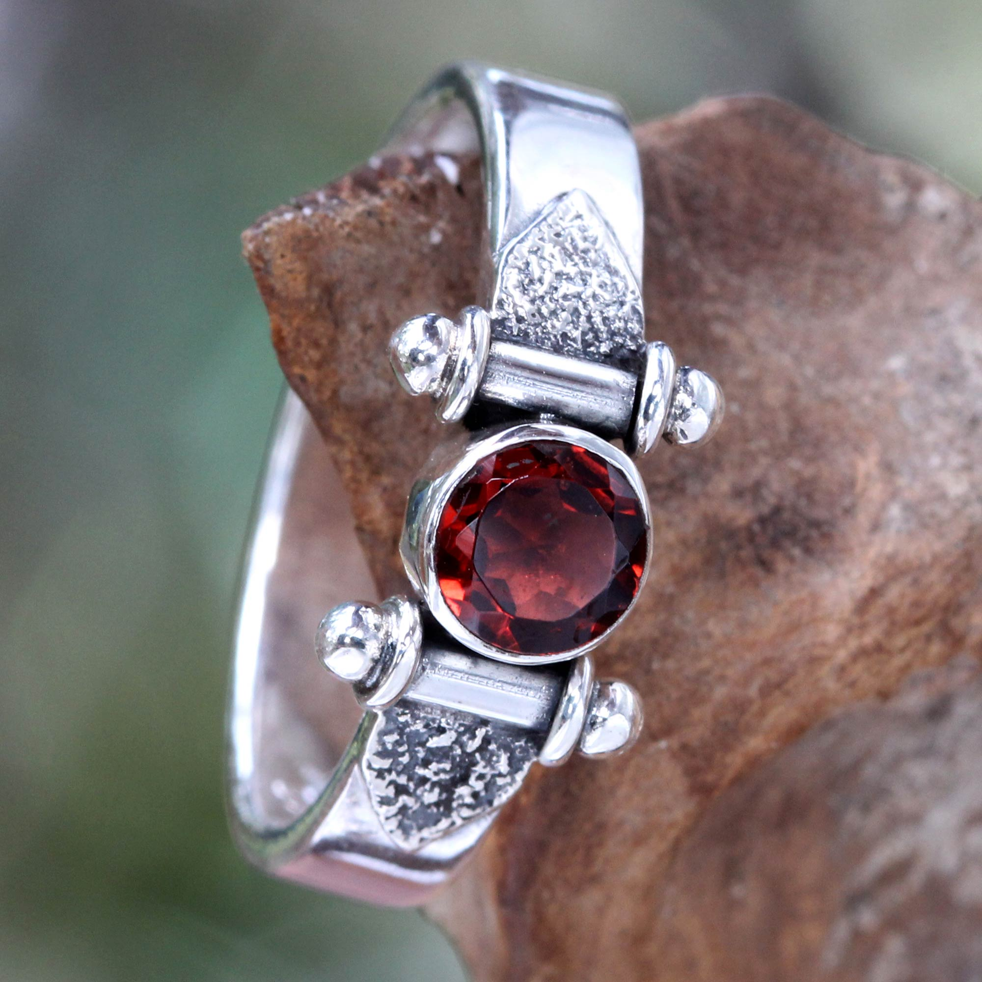 garnet jewelry modern sterling silver garnet ring - mystical eye | novica uklalos