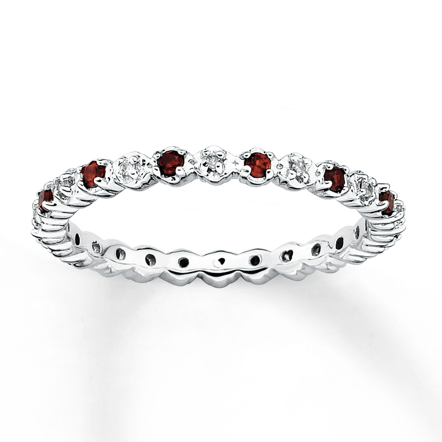 garnet jewelry stackable garnet ring 1/20 ct tw diamonds sterling silver vhykpxx
