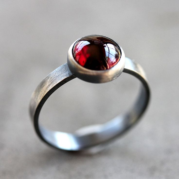 garnet rings garnet ring, black cherry red garnet gemstone roughed up sterling silver  ring january birthstone tixlujs