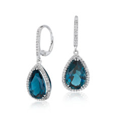 gemstone earrings london blue topaz elegant halo drop earrings in sterling silver (14x9mm) ypyekww