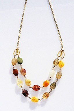 gemstone necklaces rutilated quartz double strand statement necklace on 14k gold filled chain.   rdcnalj