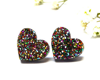 glitter heart earrings · i heart you · rainbow glitter heart earrings · 13mm jmflcfj