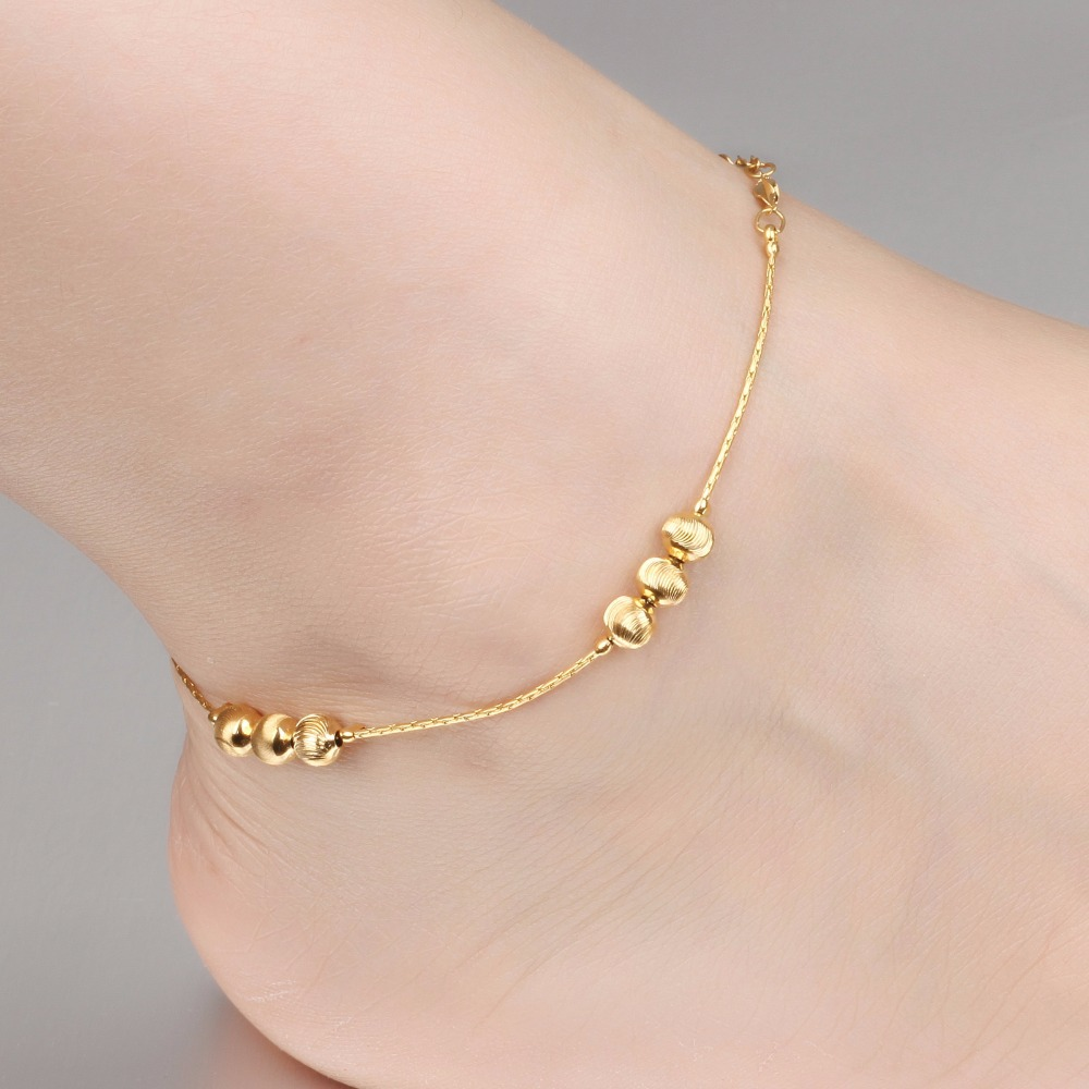 anklet new stripe women foot lock from bracelet plated long hollow gold for vintage fashion silver out gift chain locking jewelry accessories product