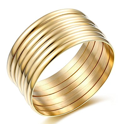 gold bangle bracelet high polish set of 7 stacked gold bangle bracelets for women 14k gibzeia