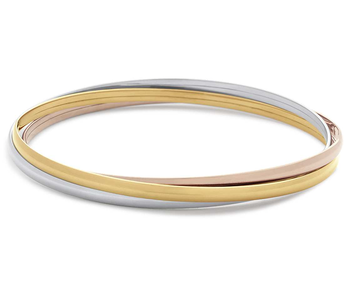 gold bangle bracelet trio bangle bracelet in 14k yellow, white and rose gold cpmgjxs