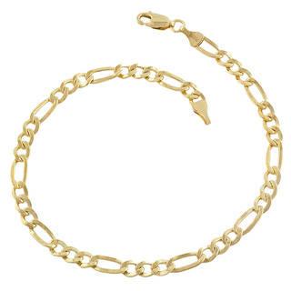 gold bracelets fremada 14k yellow gold-filled figaro link bracelet (8.5 inch) zihwivz