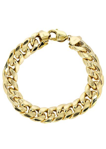 gold bracelets hollow mens miami cuban link bracelet 10k yellow gold - frostnyc xvmmdxu