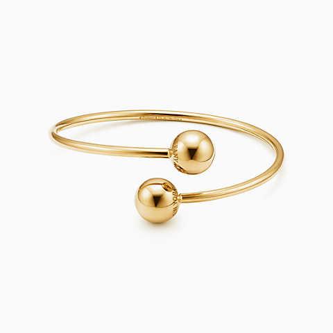 gold bracelets new tiffany hardwear ball bypass bracelet in 18k gold, medium. coiqwre