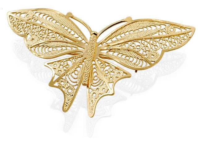 gold brooch 9ct gold filigree butterfly brooch - g9177 tzgdhcs