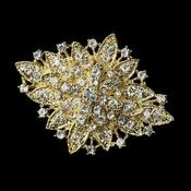 gold brooch gold clear crystal flower bridal brooch 14 kgfbnvi