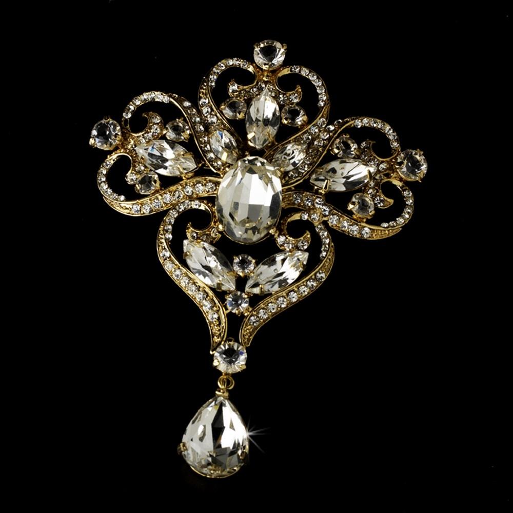 gold brooch majestic gold dynasty bridal rhinestone brooch pin - brooch 44 smfyqzx