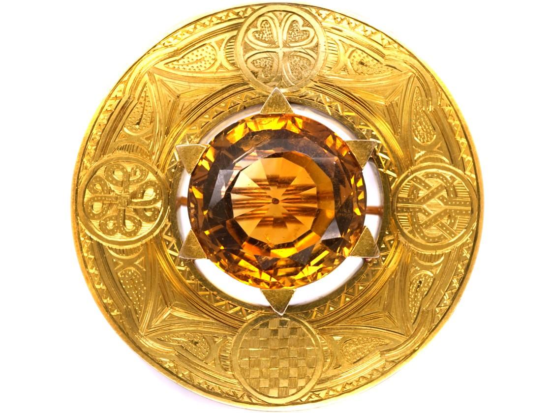 gold brooch victorian scottish 18ct gold target brooch set with a citrine njpzfgi