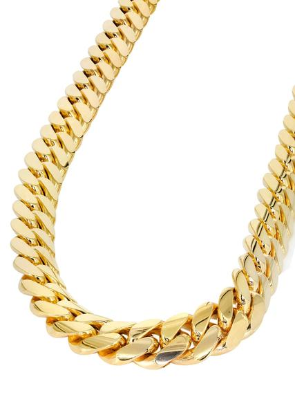 gold chain necklace solid mens miami cuban link chain 10k yellow gold - frostnyc bbnauwx