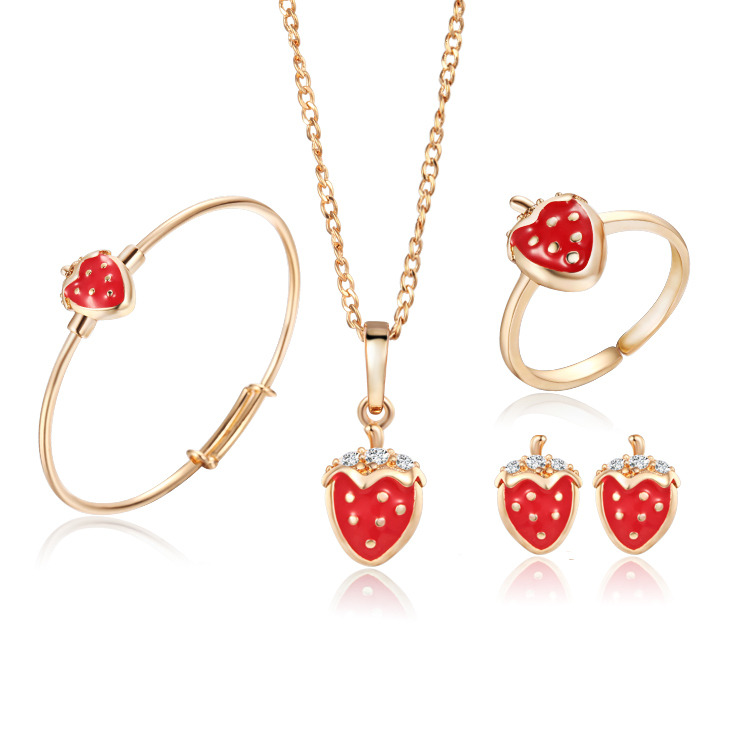 gold-color kids jewelry sets strawberry pendant necklace bangle bracelet  ring baby earrings fashion free quxmlmq