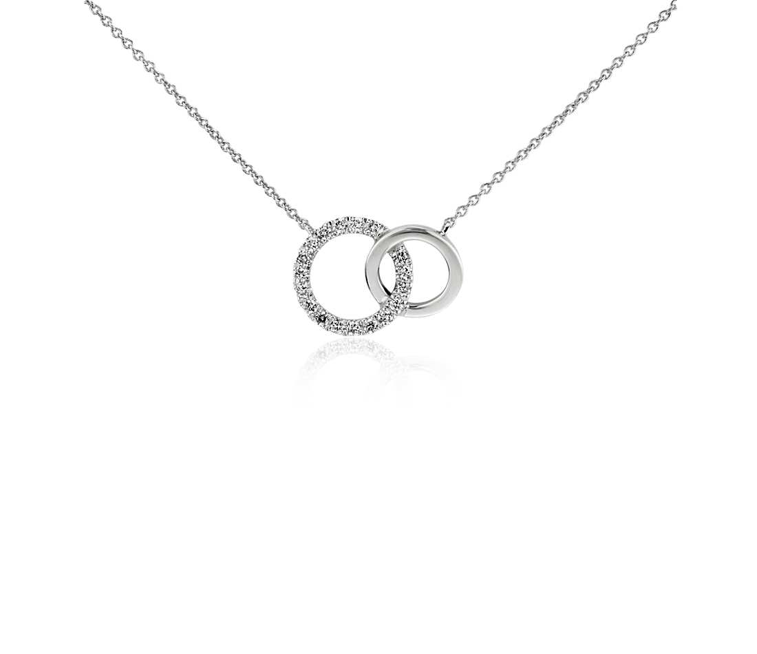 Why a white gold diamond necklace is a great gift styleskier gold diamond necklace mini duet circle diamond necklace in 14k white gold abbicjd mozeypictures Choice Image