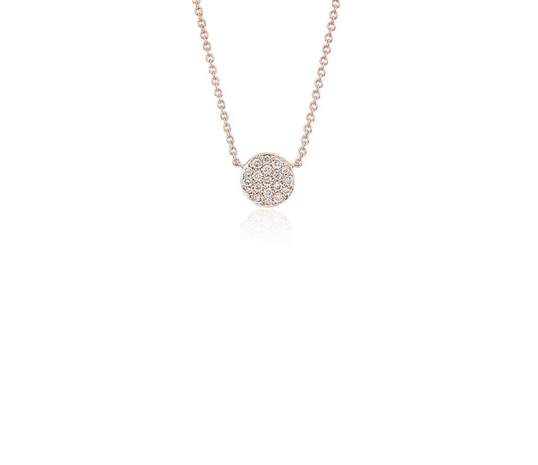 gold diamond necklace mini micropavé button diamond necklace in 14k rose gold (1/10 ct. tw comtkbg