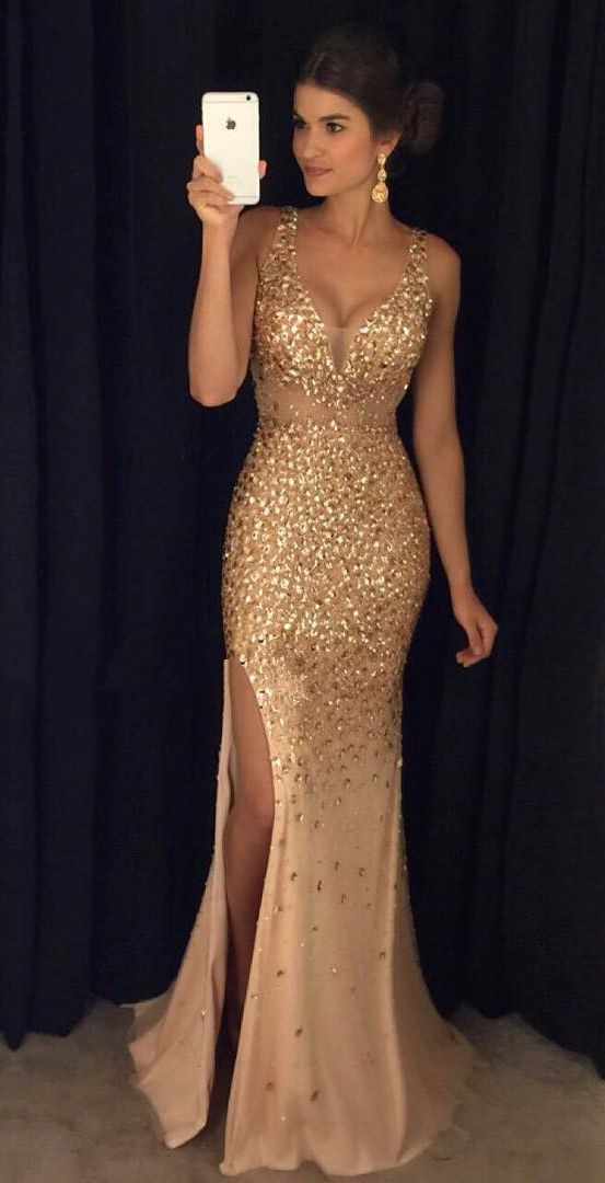 gold dress gold crystals mermaid prom dresses,deep v neck slit prom dresses,off the  shoulder long evening ooqbgpr