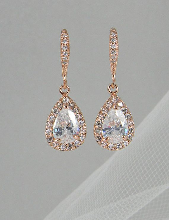 gold drop earrings crystal bridal earrings, rose gold wedding jewelry swarovski crystal  wedding earrings bridal jewelry, ariel xrvqknt