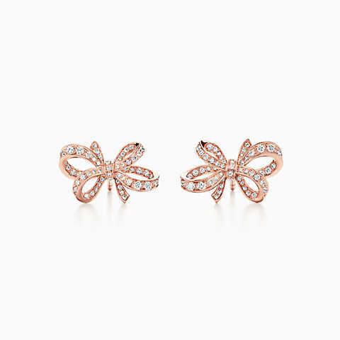 gold earrings new tiffany bow ribbon earrings in 18k rose gold with diamonds, mini. pcmhxiu