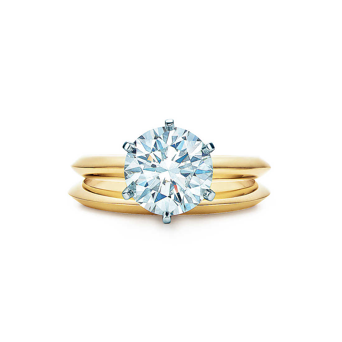 gold engagement rings 2.2 ct shown with tiffany wedding band wzunimv