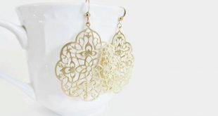 gold filigree earrings, gold earrings, laser cut earrings, silver moroccan  earrings, rose rgsodbb