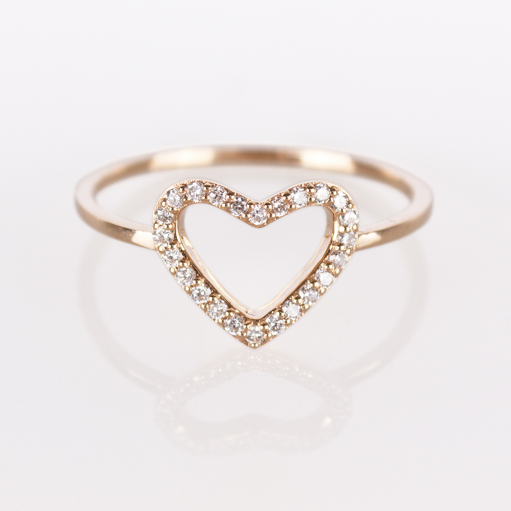 gold heart ring heart ring - rose gold white diamond ripcdbw