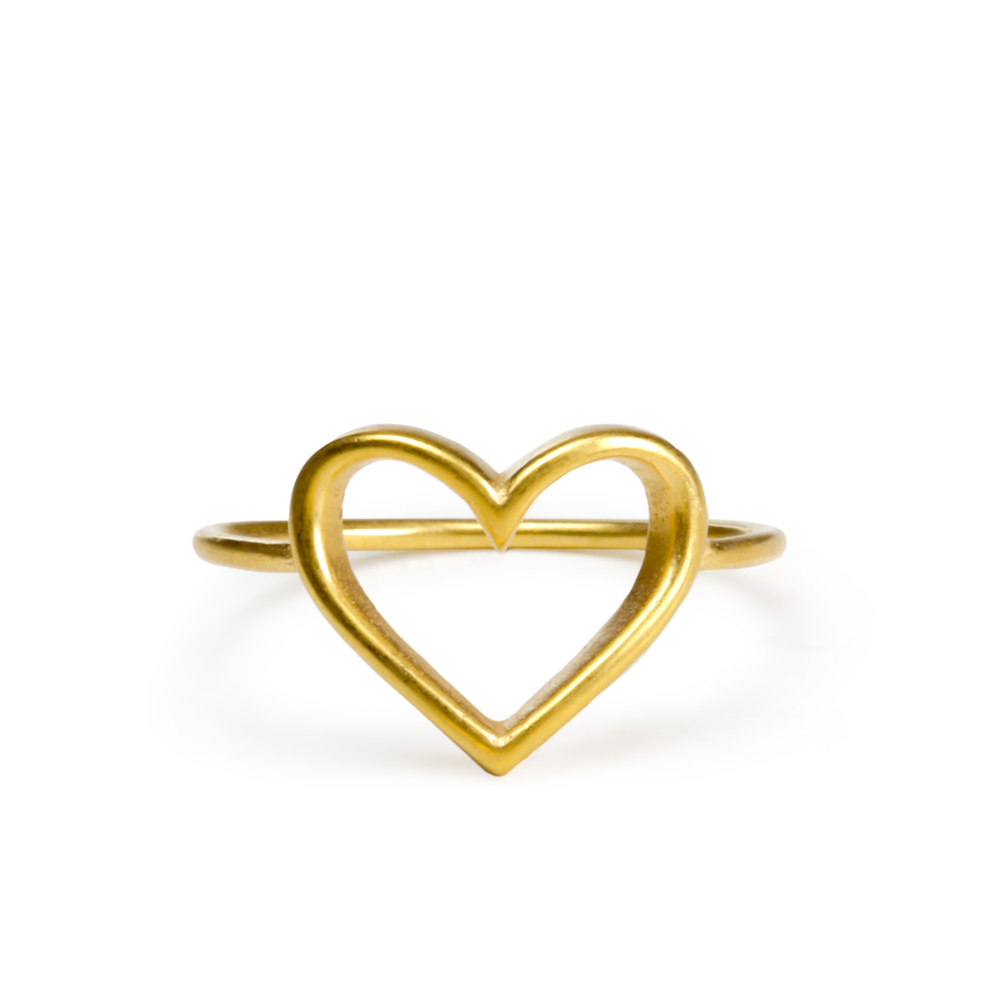 gold heart ring open heart ring, gold dipped - size 5 ... kbyuxoc