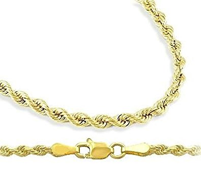 gold necklace for women mens womens 14k yellow gold necklace hollow rope chain 1.5mm , 16 inch nriyexh