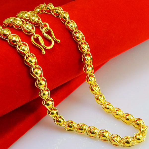 gold necklace for women not fade imitation gold necklace men women 999 gold chain heavy chain  smooth transfer jtsnejs