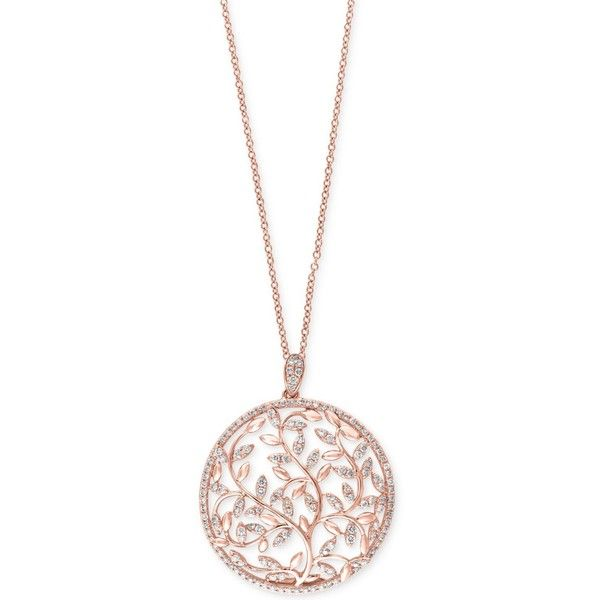 gold pendant necklace effy diamond vine pendant necklace (9/10 ct. t.w.) in 14k rose aioneye