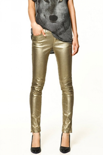 gold slimming ladies stylish metallic leggings omwdgdg