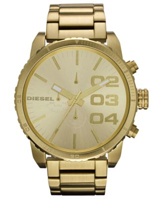 gold watches diesel watch, chronograph gold-tone stainless steel bracelet 51mm dz4268 irdiita