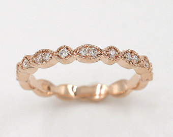 gold wedding bands art deco diamond wedding band.rose gold wedding band.14k solid gold wedding  ring ytvzrgg