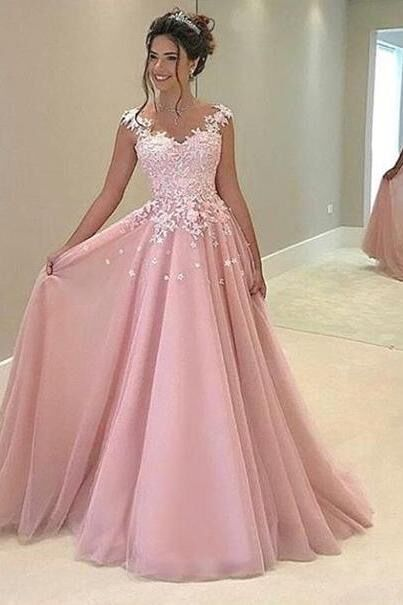 gown dresses beautiful lace top pink tulle prom dress with straps, ball gowns wedding  dress lynlnel