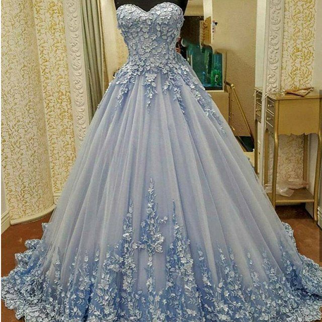 gown dresses lovely lace appliques sweetheart light blue ball gowns wedding dresses bqabnzc