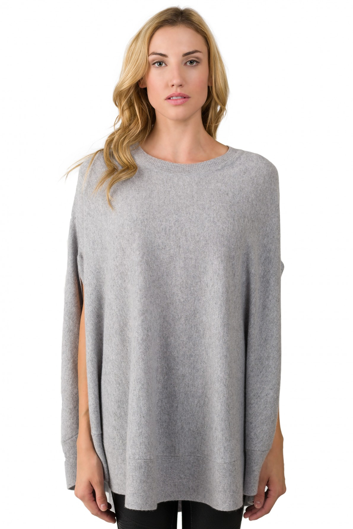 gray cashmere oversized laid-back poncho sweater front view bmgaccu