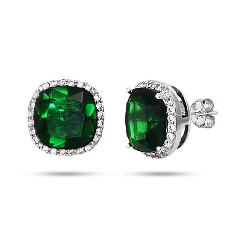 Green Earrings Cut Emerald Cz Stud In Sterling Silver Eve S Zwutvzc