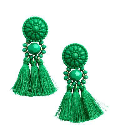 green earrings earrings in plastic and metal with tassels. length 3 1/4 in. cfkzdmt