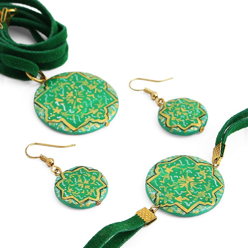 green enamel jewelry set with necklace, bracelet and earrings (minakari) ... jpistba