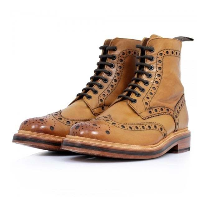 grenson fred calf tan brogue boots 5068/02 xnekfhy